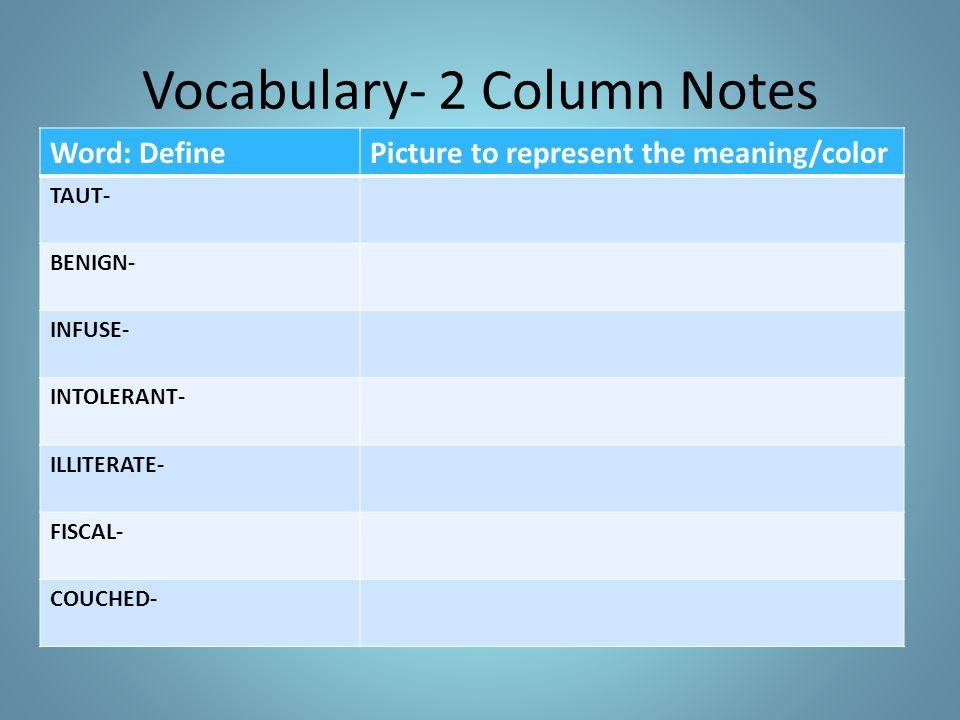 Vocabulary- 2 Column Notes