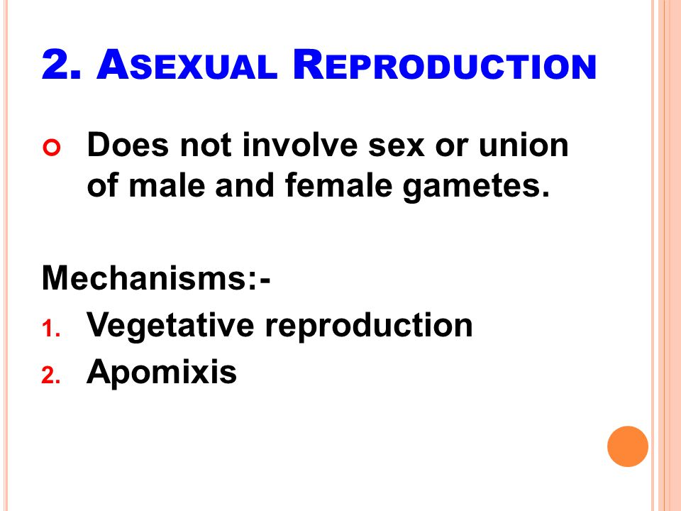 2. Asexual Reproduction Does not involve sex or union of male and female gametes. Mechanisms:- Vegetative reproduction.