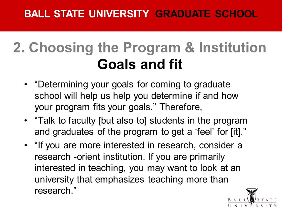 2. Choosing the Program & Institution Goals and fit
