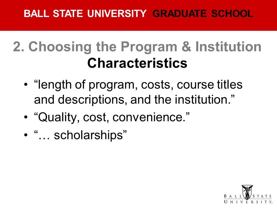 2. Choosing the Program & Institution Characteristics