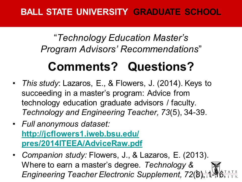 Technology Education Master's Program Advisors' Recommendations Comments Questions