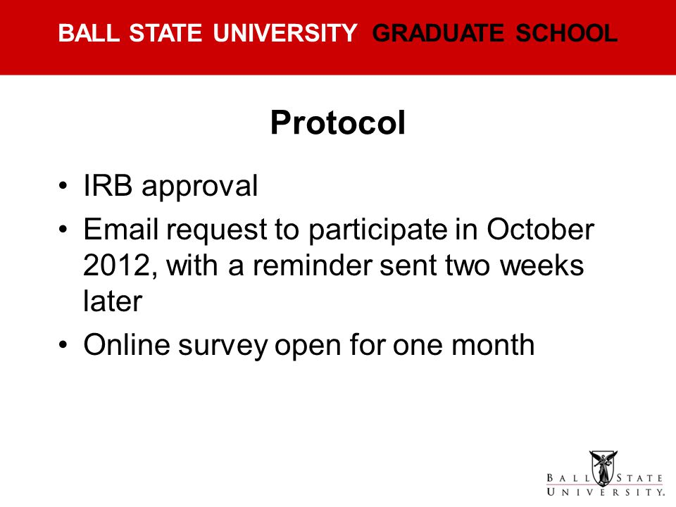 Protocol IRB approval. Email request to participate in October 2012, with a reminder sent two weeks later.