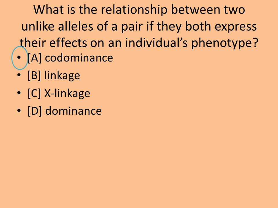 What is the relationship between two unlike alleles of a pair if they both express their effects on an individual's phenotype