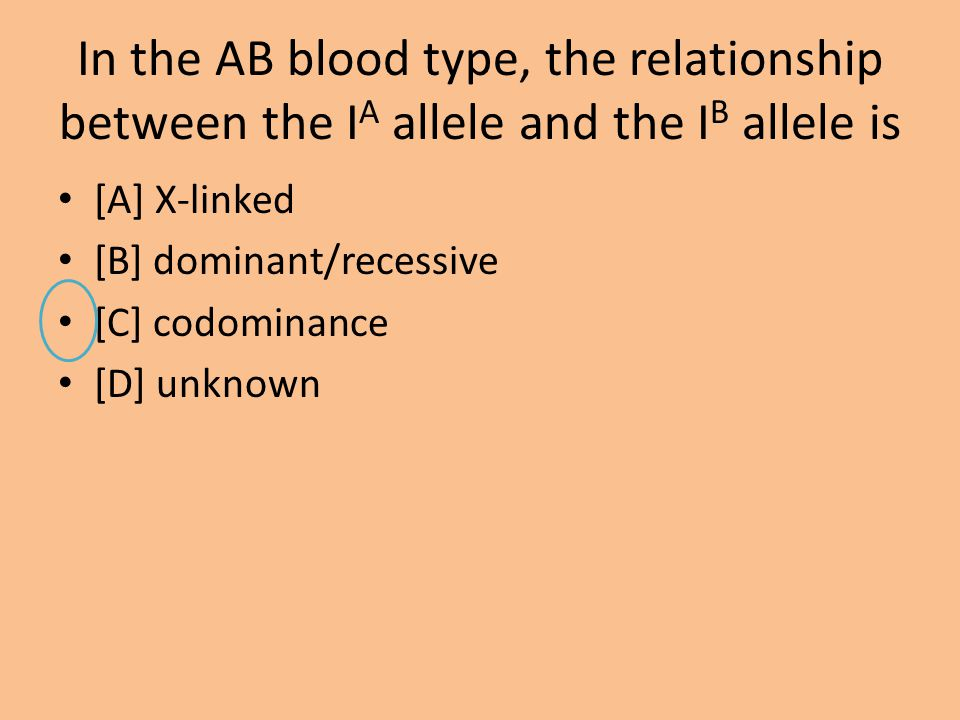 In the AB blood type, the relationship between the IA allele and the IB allele is