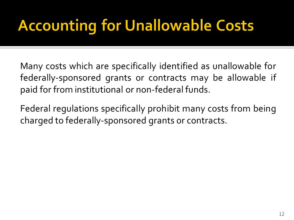 Accounting for Unallowable Costs