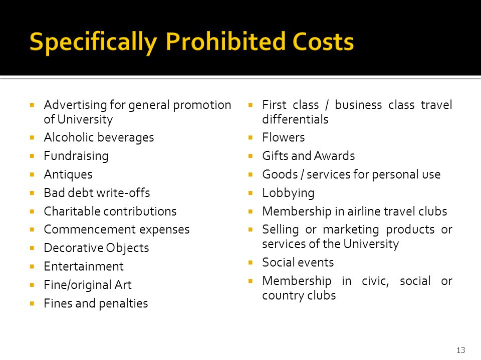 Specifically Prohibited Costs