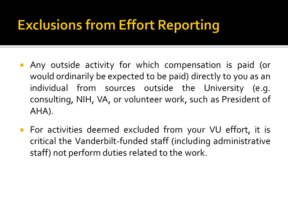 Exclusions from Effort Reporting