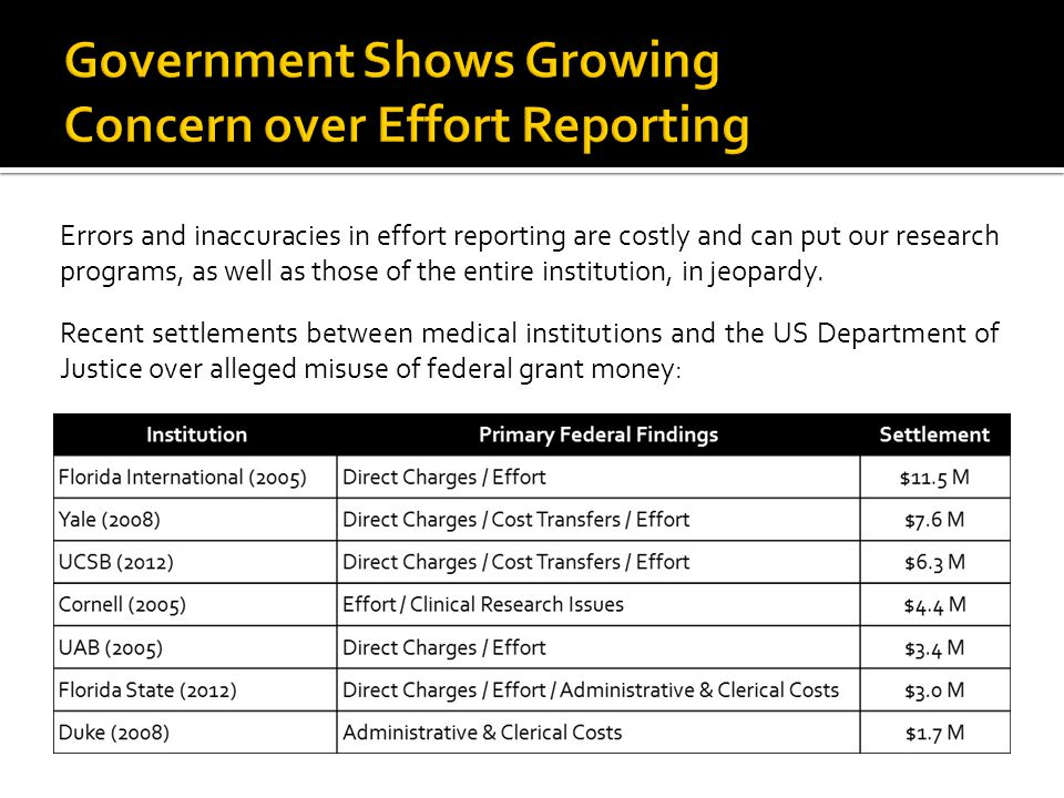 Government Shows Growing Concern over Effort Reporting