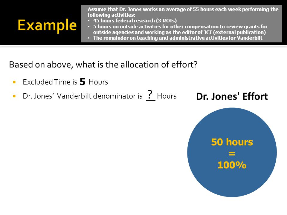 Example Based on above, what is the allocation of effort 5 50 hours =