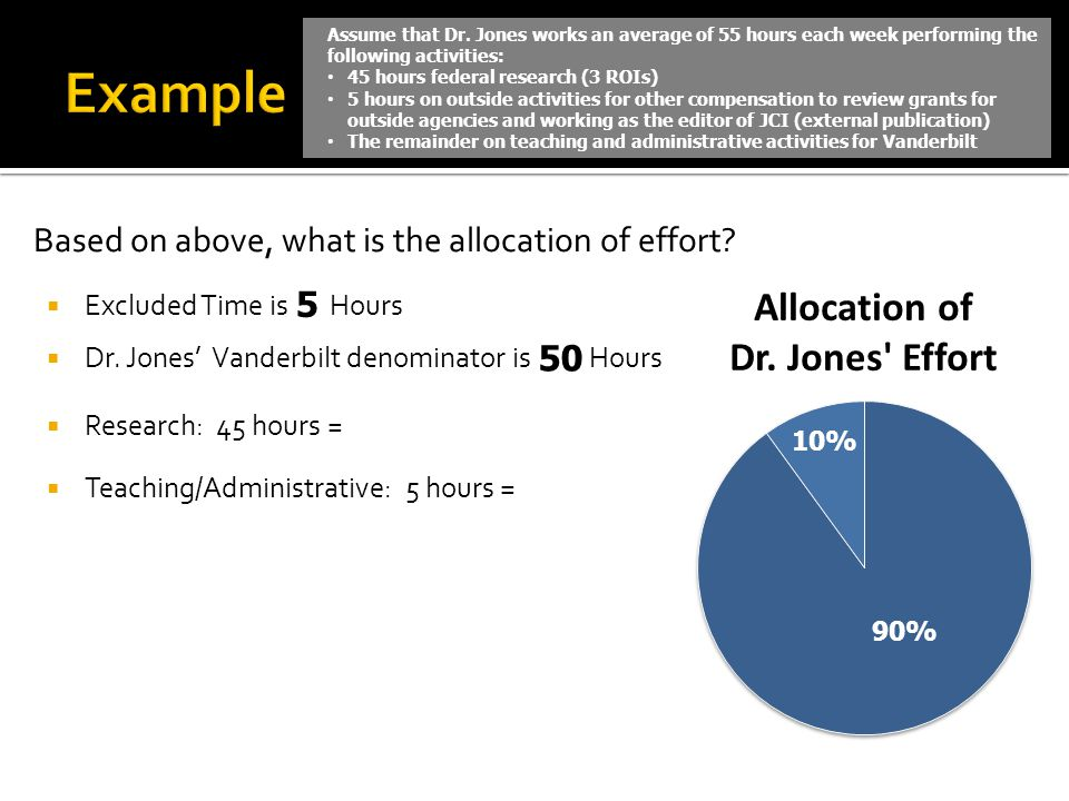 Example Based on above, what is the allocation of effort 5 50
