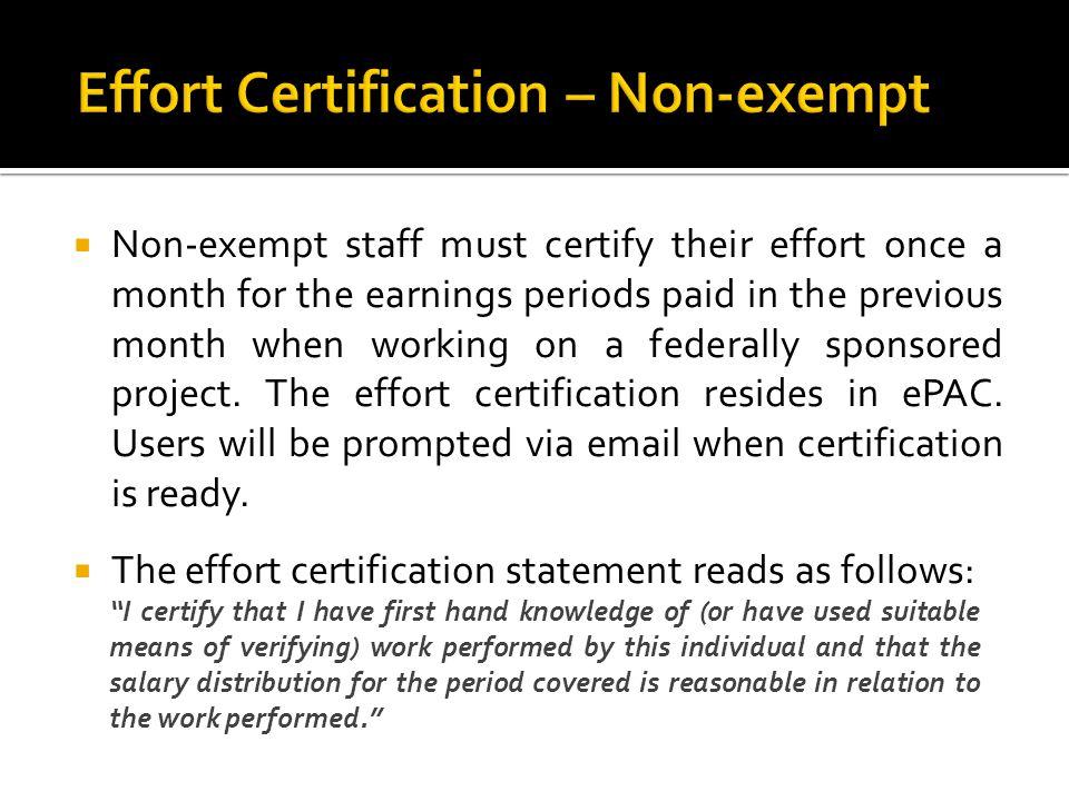 Effort Certification – Non-exempt