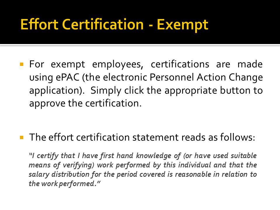 Effort Certification - Exempt