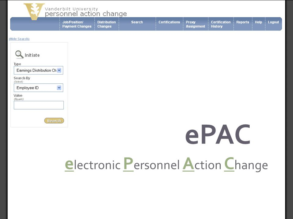 electronic Personnel Action Change