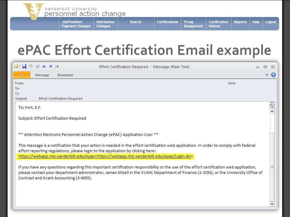 ePAC Effort Certification Email example