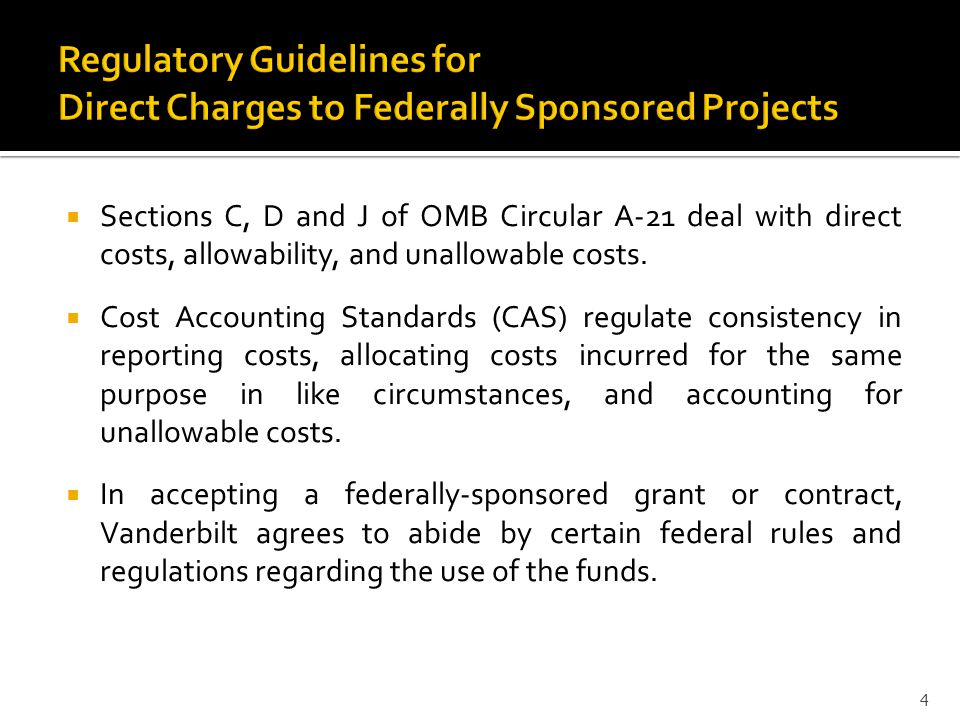 Regulatory Guidelines for Direct Charges to Federally Sponsored Projects