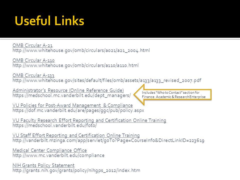 Useful Links OMB Circular A-21