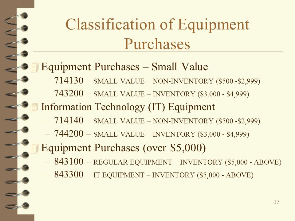 Classification of Equipment Purchases