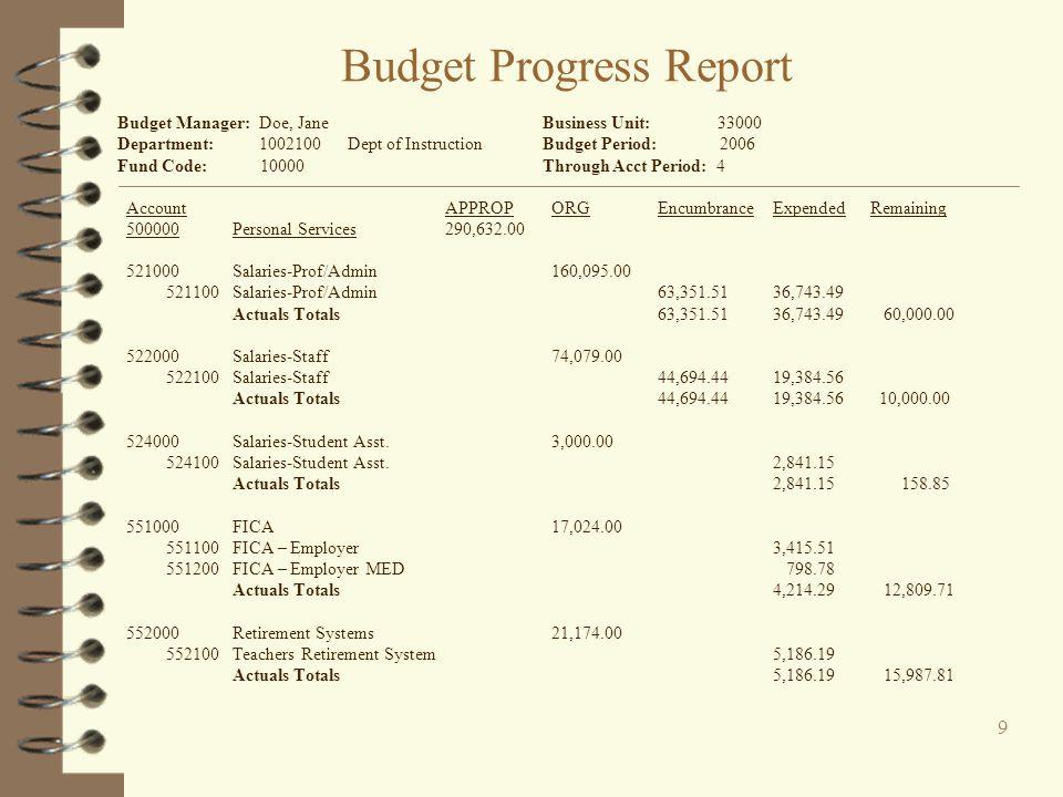 Budget Progress Report
