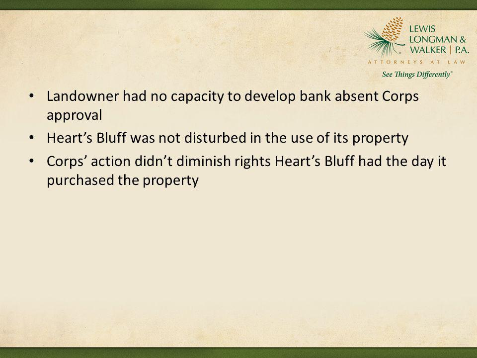 Landowner had no capacity to develop bank absent Corps approval