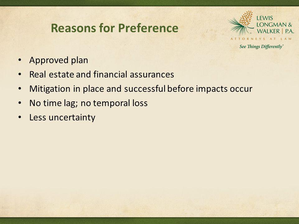 Reasons for Preference