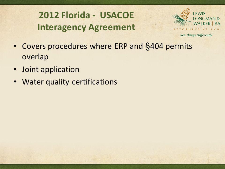 2012 Florida - USACOE Interagency Agreement