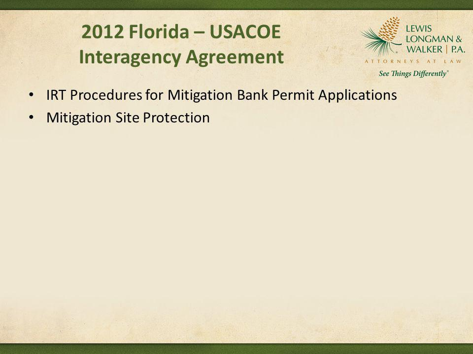 2012 Florida – USACOE Interagency Agreement