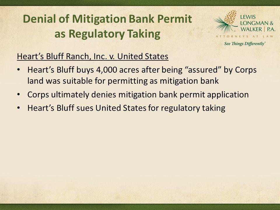 Denial of Mitigation Bank Permit as Regulatory Taking
