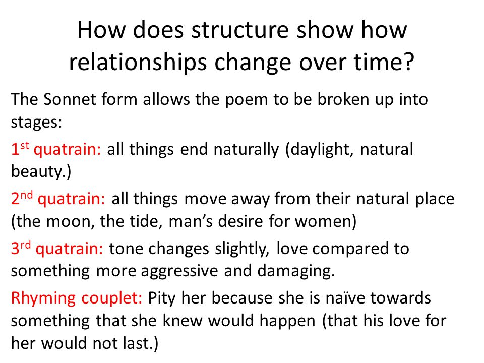 How does structure show how relationships change over time