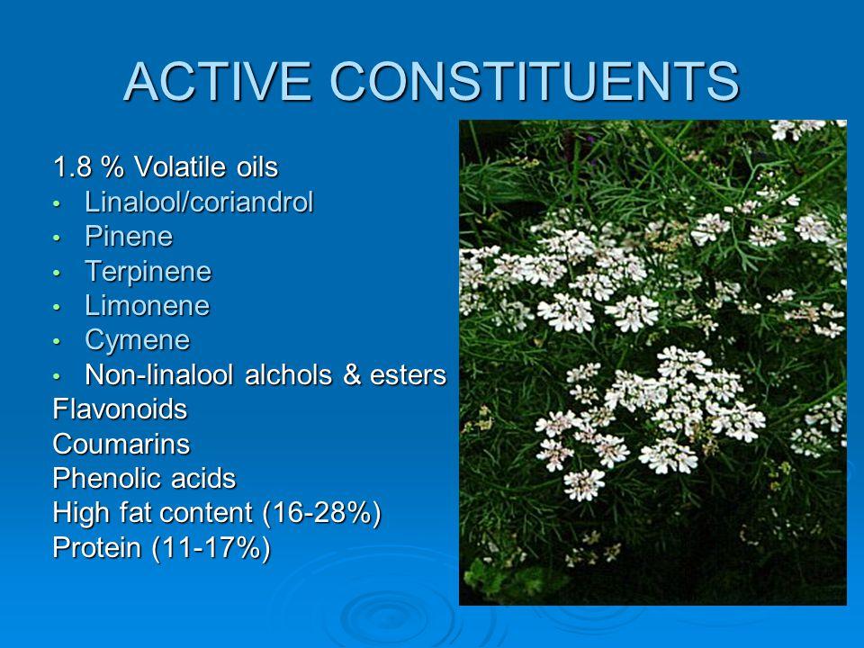 ACTIVE CONSTITUENTS 1.8 % Volatile oils Linalool/coriandrol Pinene