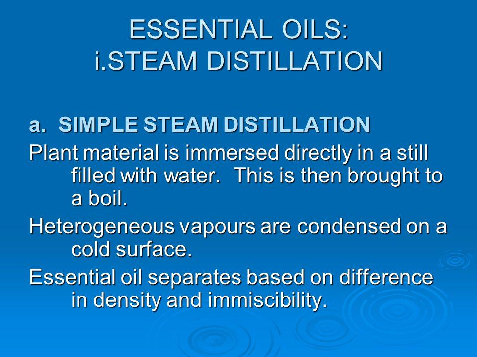ESSENTIAL OILS: i.STEAM DISTILLATION