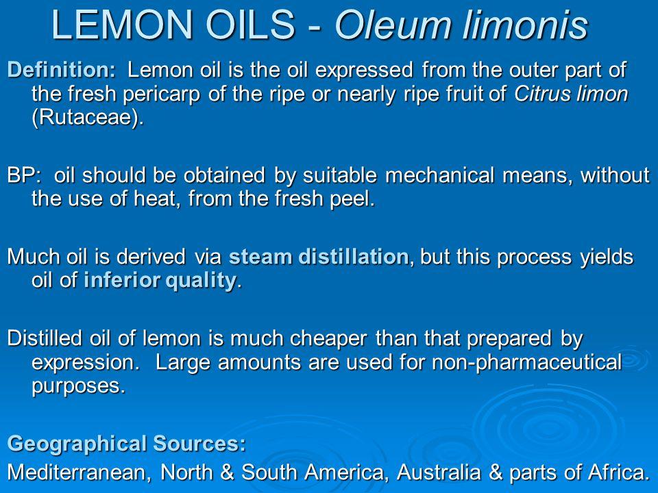 LEMON OILS - Oleum limonis