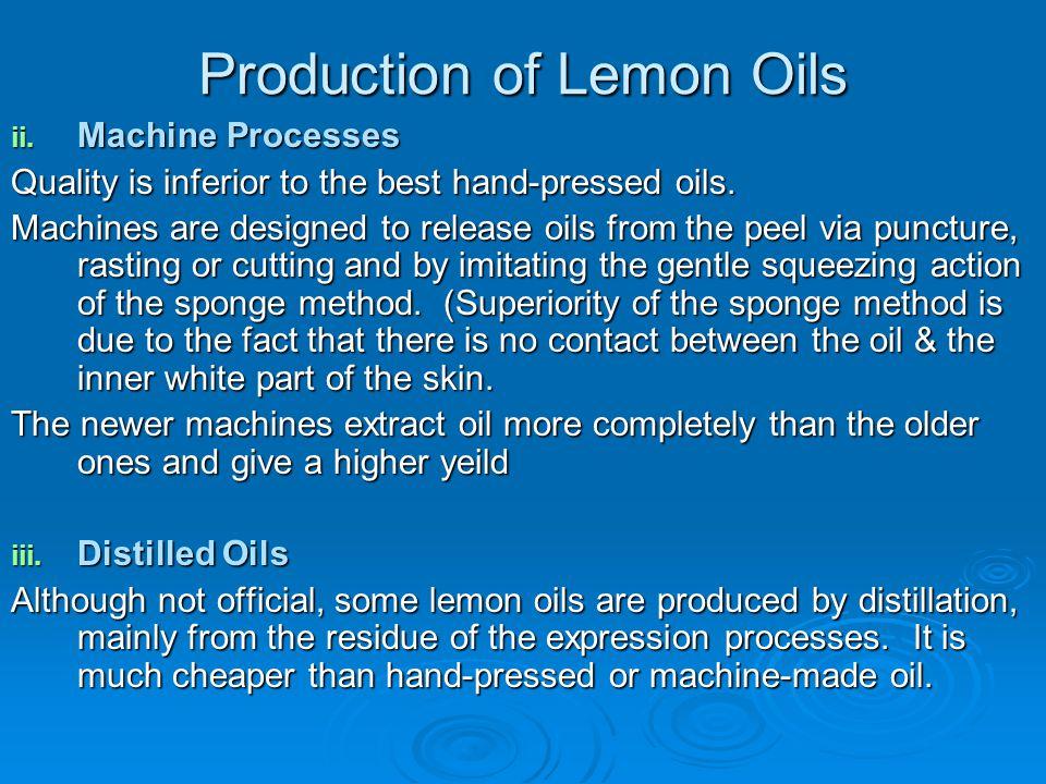 Production of Lemon Oils