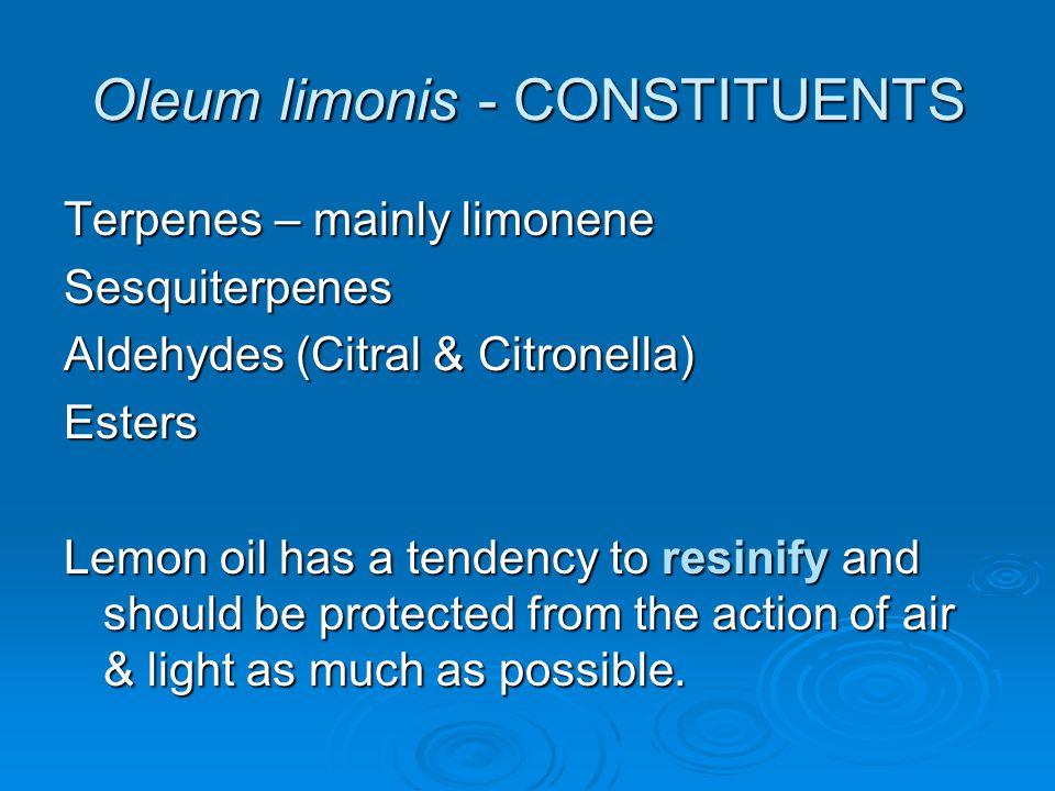 Oleum limonis - CONSTITUENTS