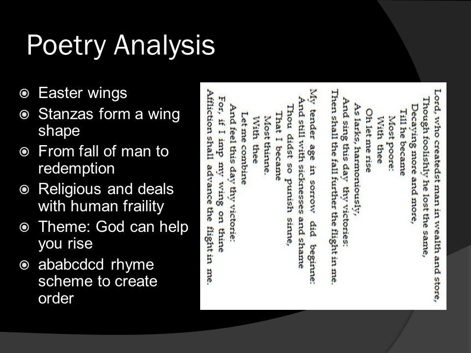 Poetry Analysis Easter wings Stanzas form a wing shape