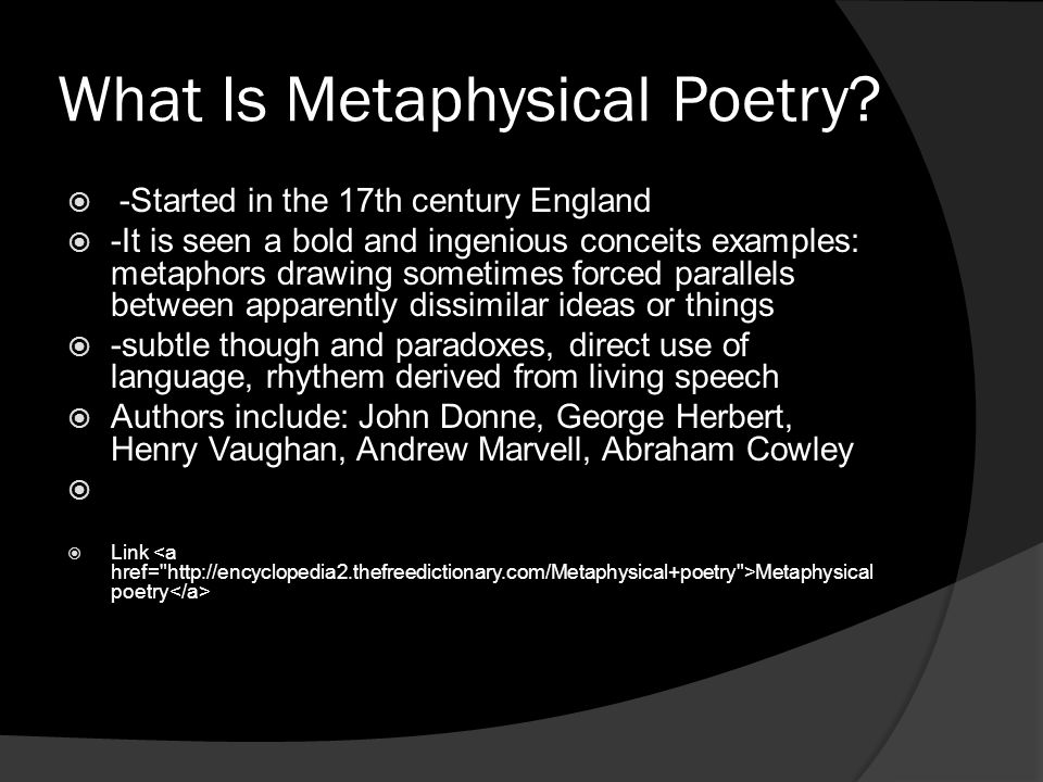 What Is Metaphysical Poetry