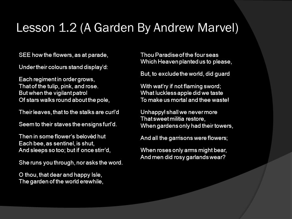 Lesson 1.2 (A Garden By Andrew Marvel)
