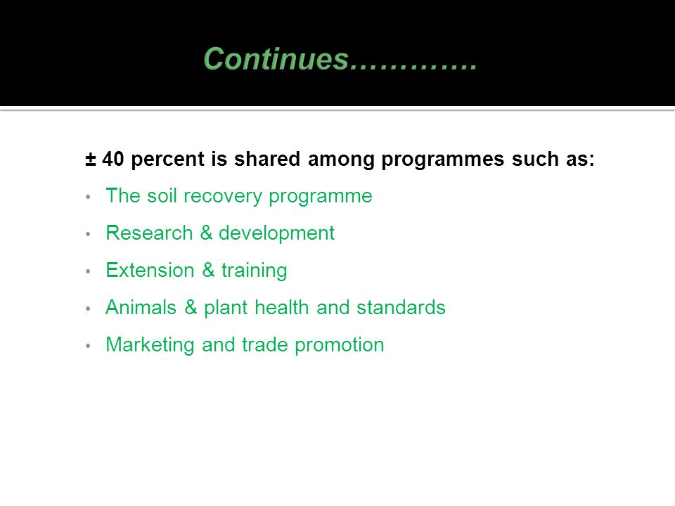 Continues…………. ± 40 percent is shared among programmes such as: