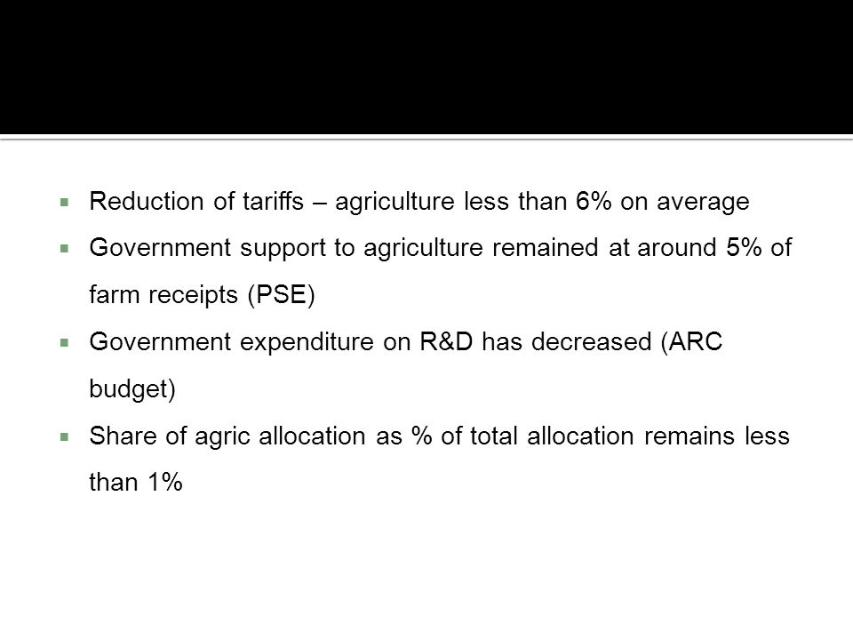 Reduction of tariffs – agriculture less than 6% on average
