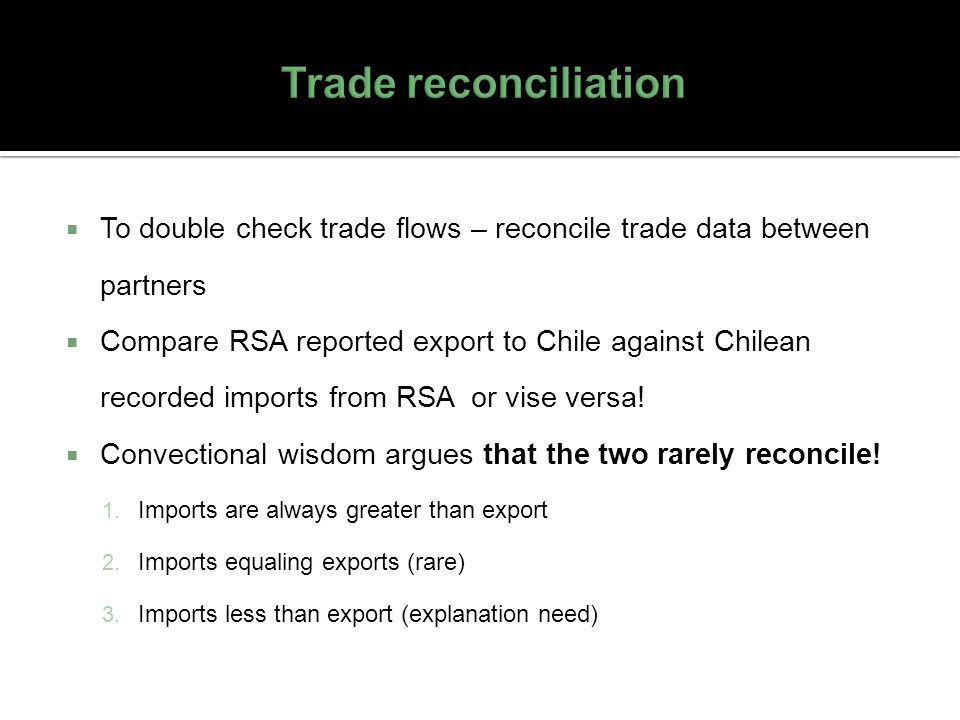 Trade reconciliation To double check trade flows – reconcile trade data between partners.
