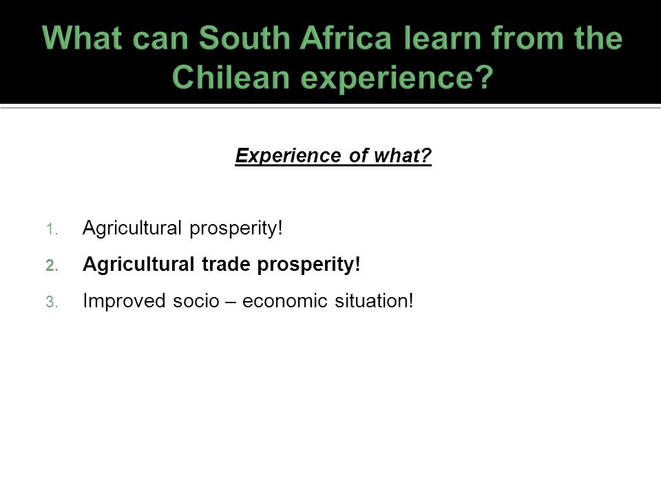 What can South Africa learn from the Chilean experience