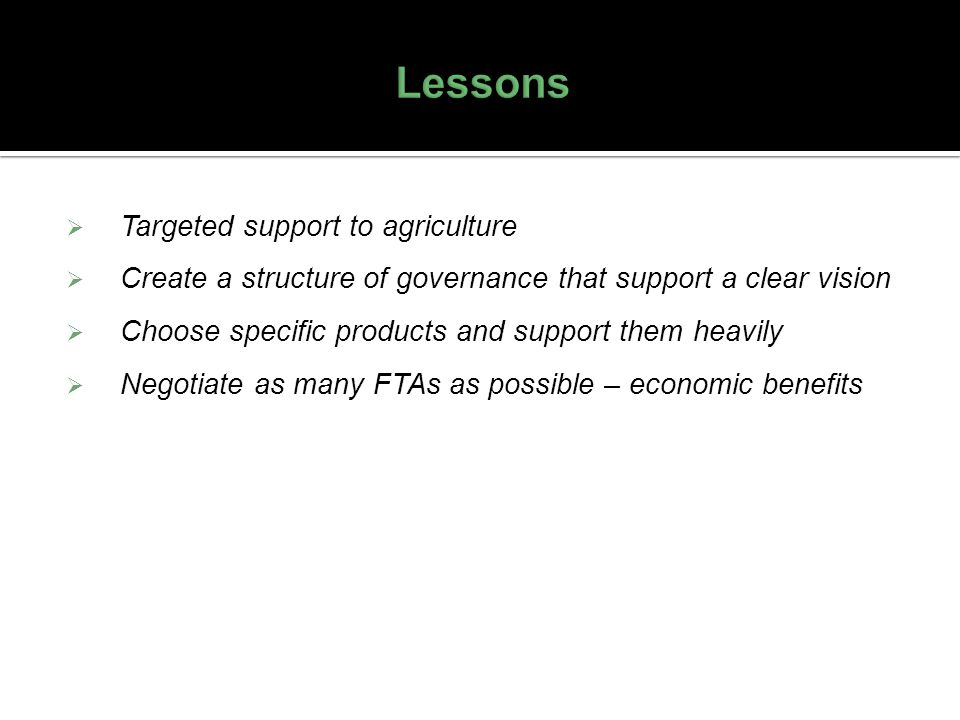Lessons Targeted support to agriculture