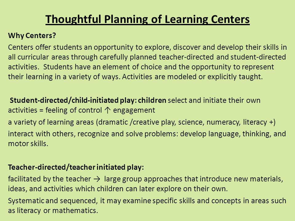 Thoughtful Planning of Learning Centers