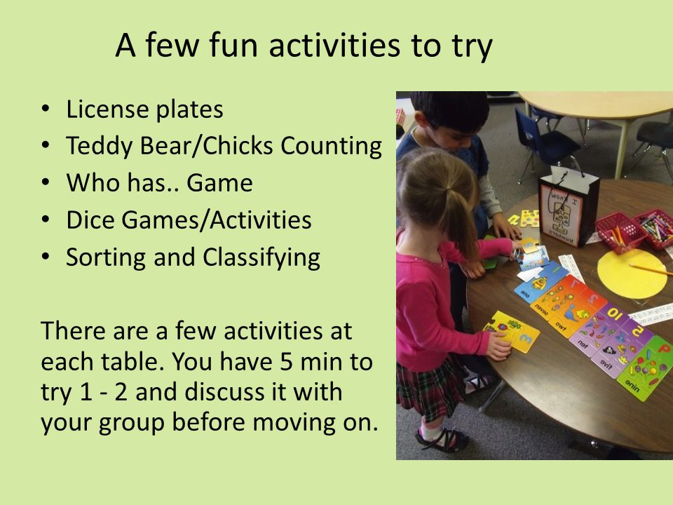 A few fun activities to try