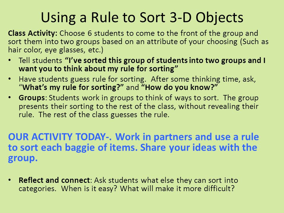 Using a Rule to Sort 3-D Objects