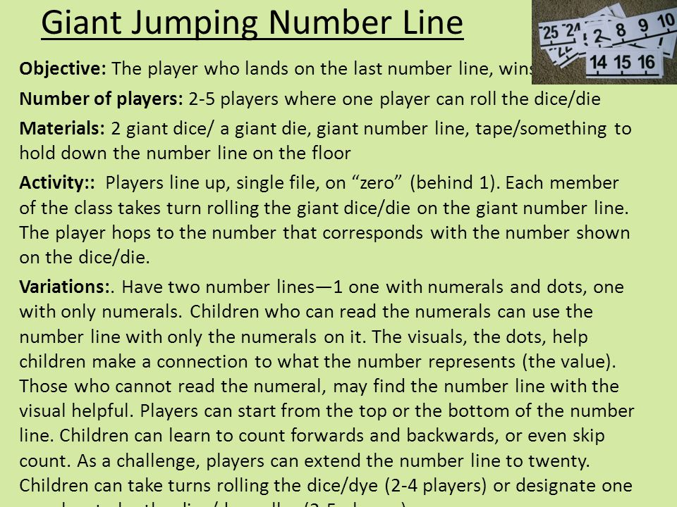 Giant Jumping Number Line