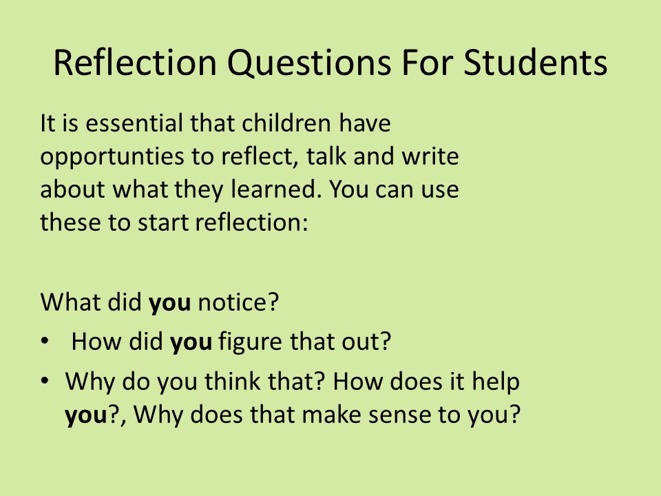Reflection Questions For Students