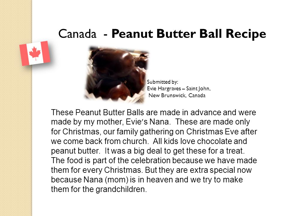 Canada - Peanut Butter Ball Recipe