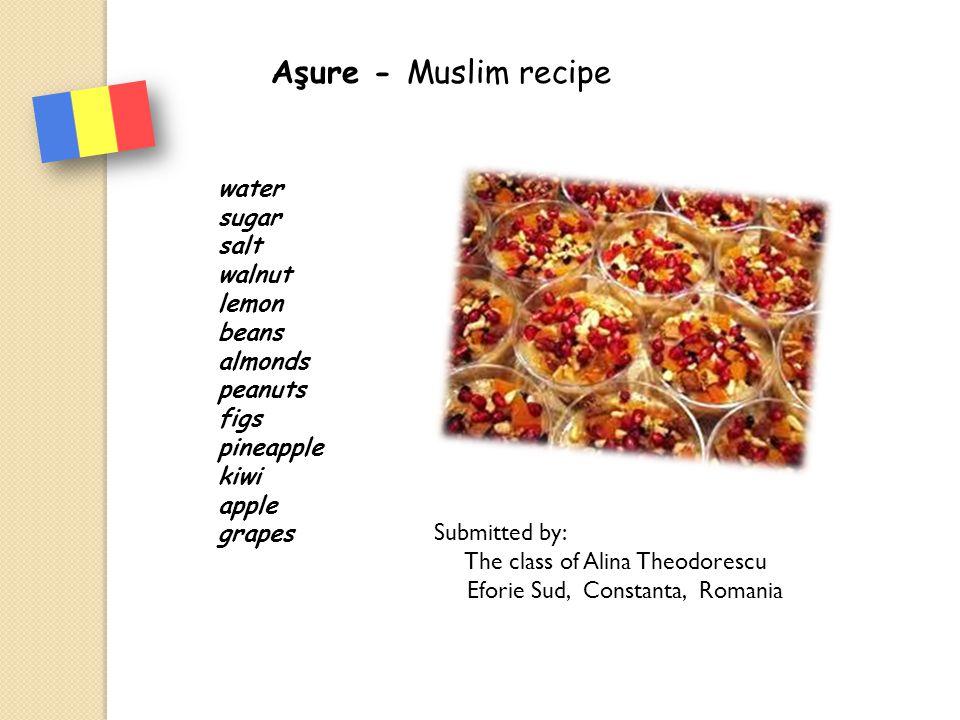 Aşure - Muslim recipe water sugar salt walnut lemon beans almonds