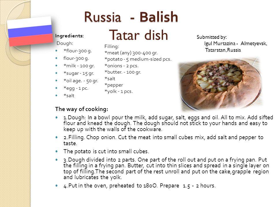 Russia - Balish Tatar dish