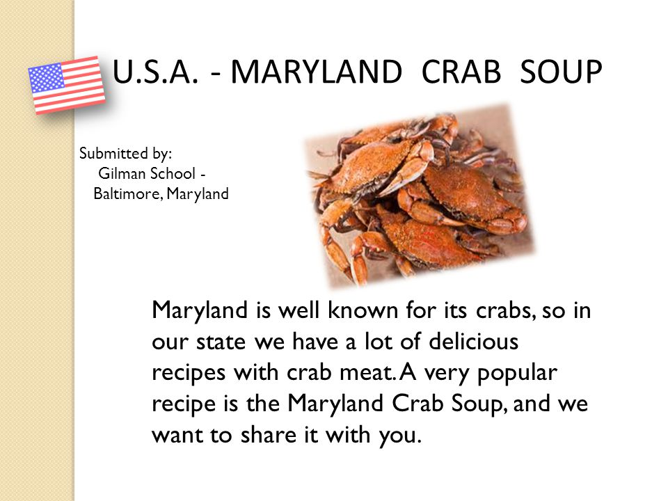 U.S.A. - MARYLAND CRAB SOUP